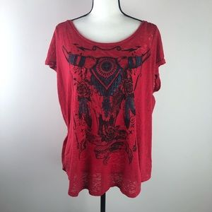 ROCK & REPUBLIC 1X red burnout T-shirt EUC